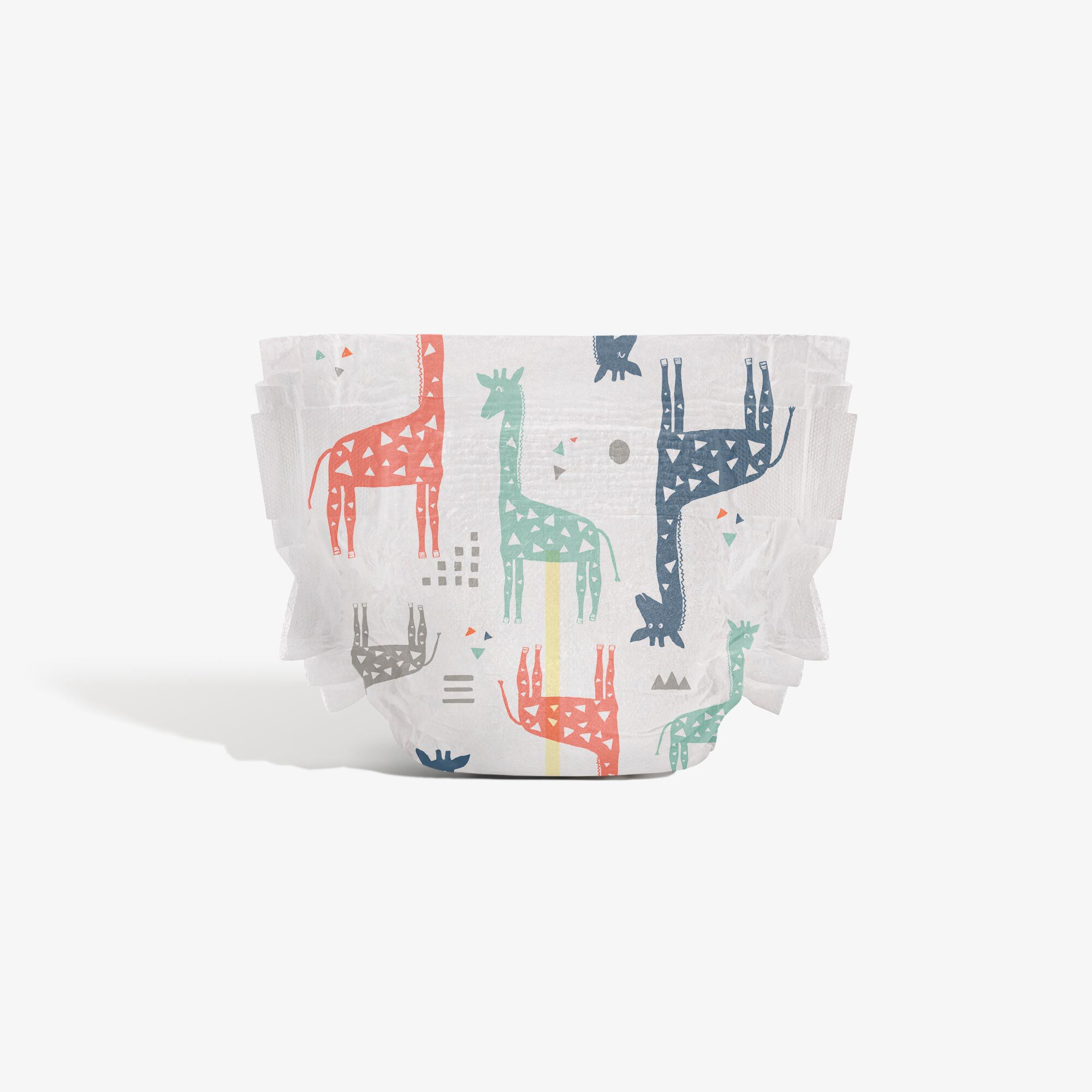Clean Conscious Diaper, Multi-Colored Giraffes, Size 2