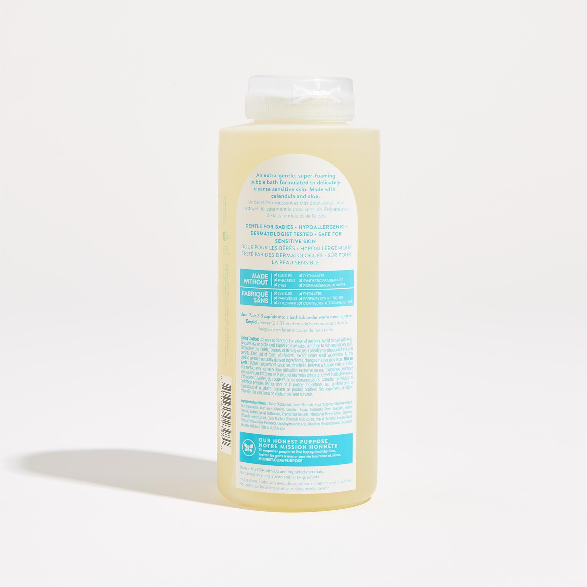 Fragrance Free  Bubble Bath Back of Product