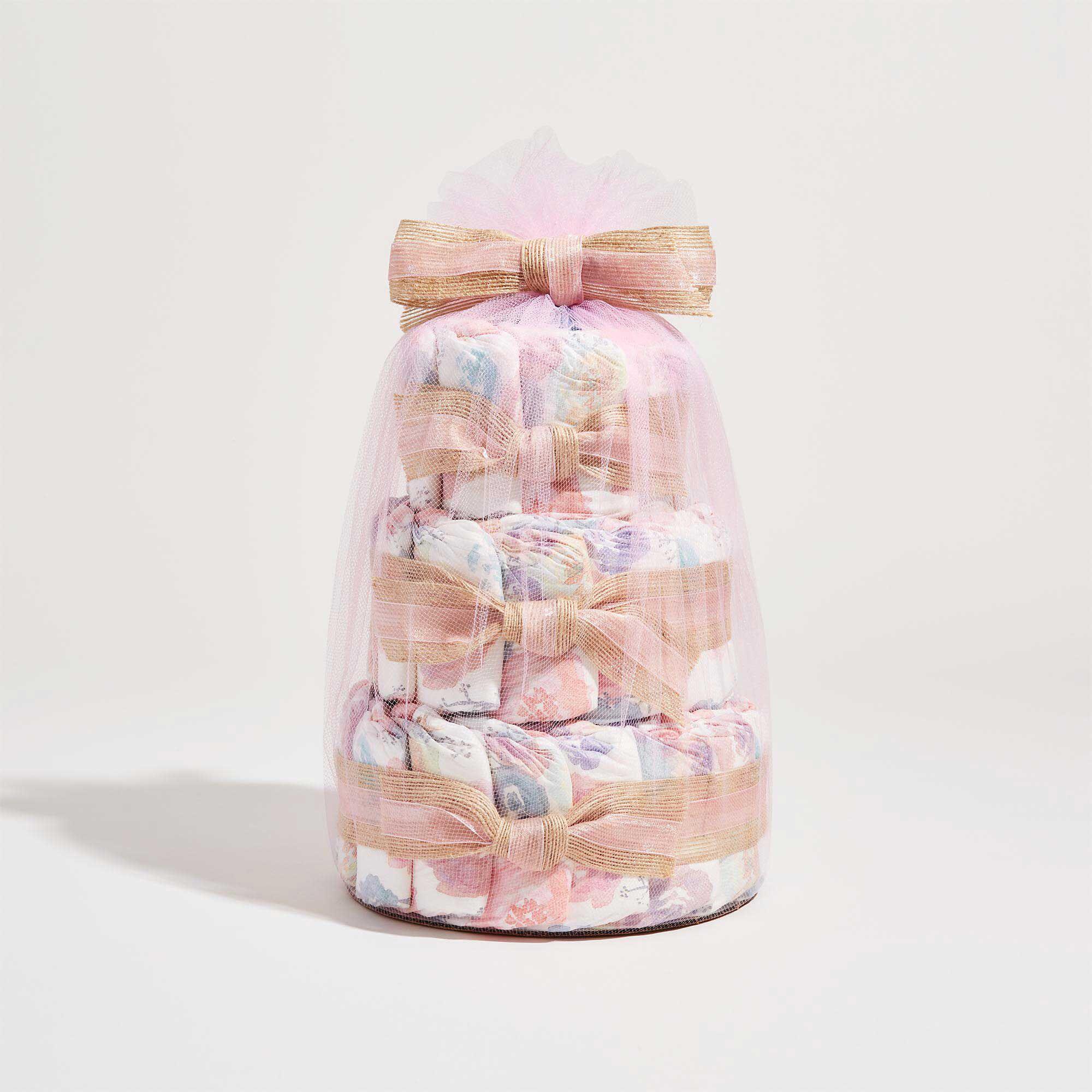 Rose Blossoms Printed Diaper Cake
