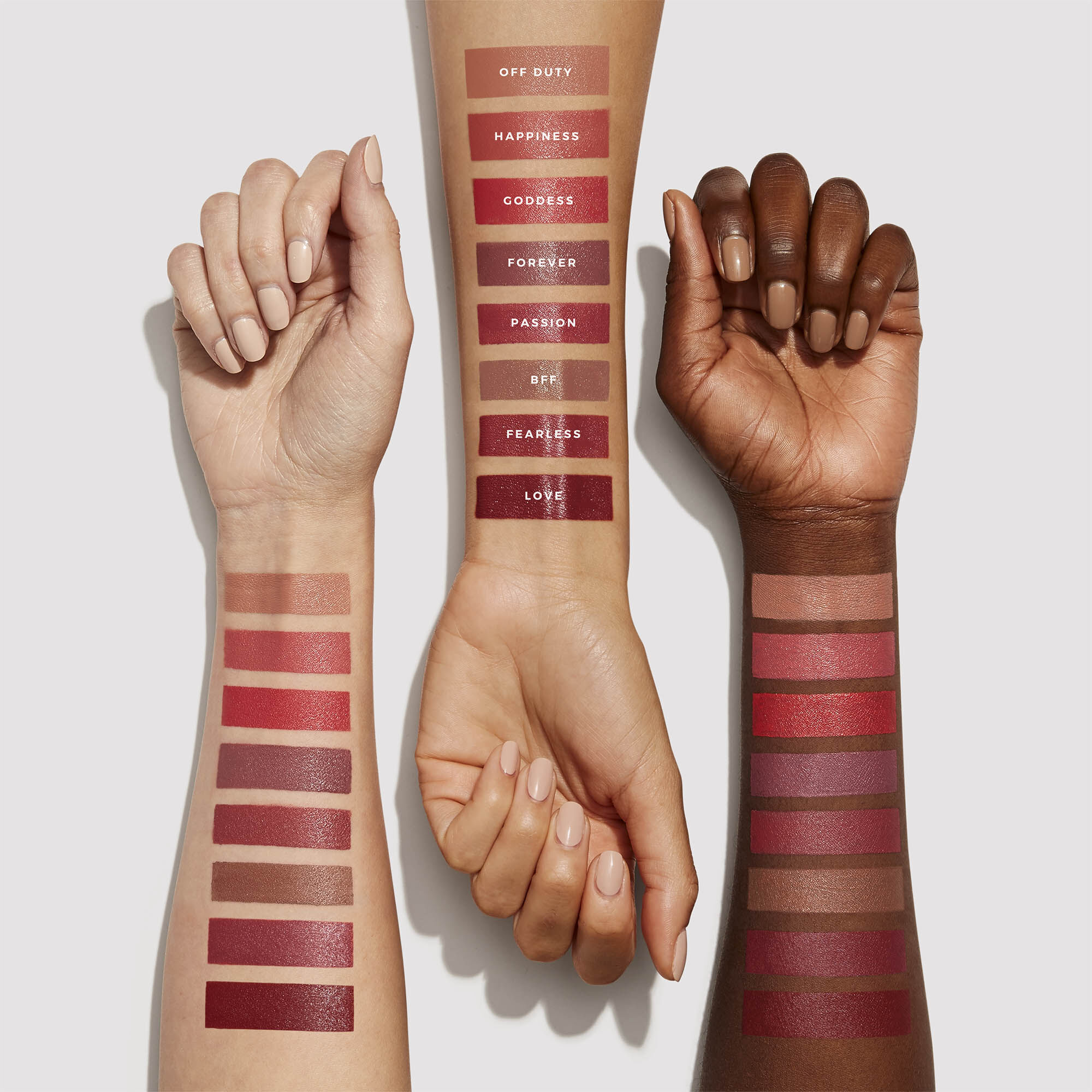 Arm Swatches of all eight shades