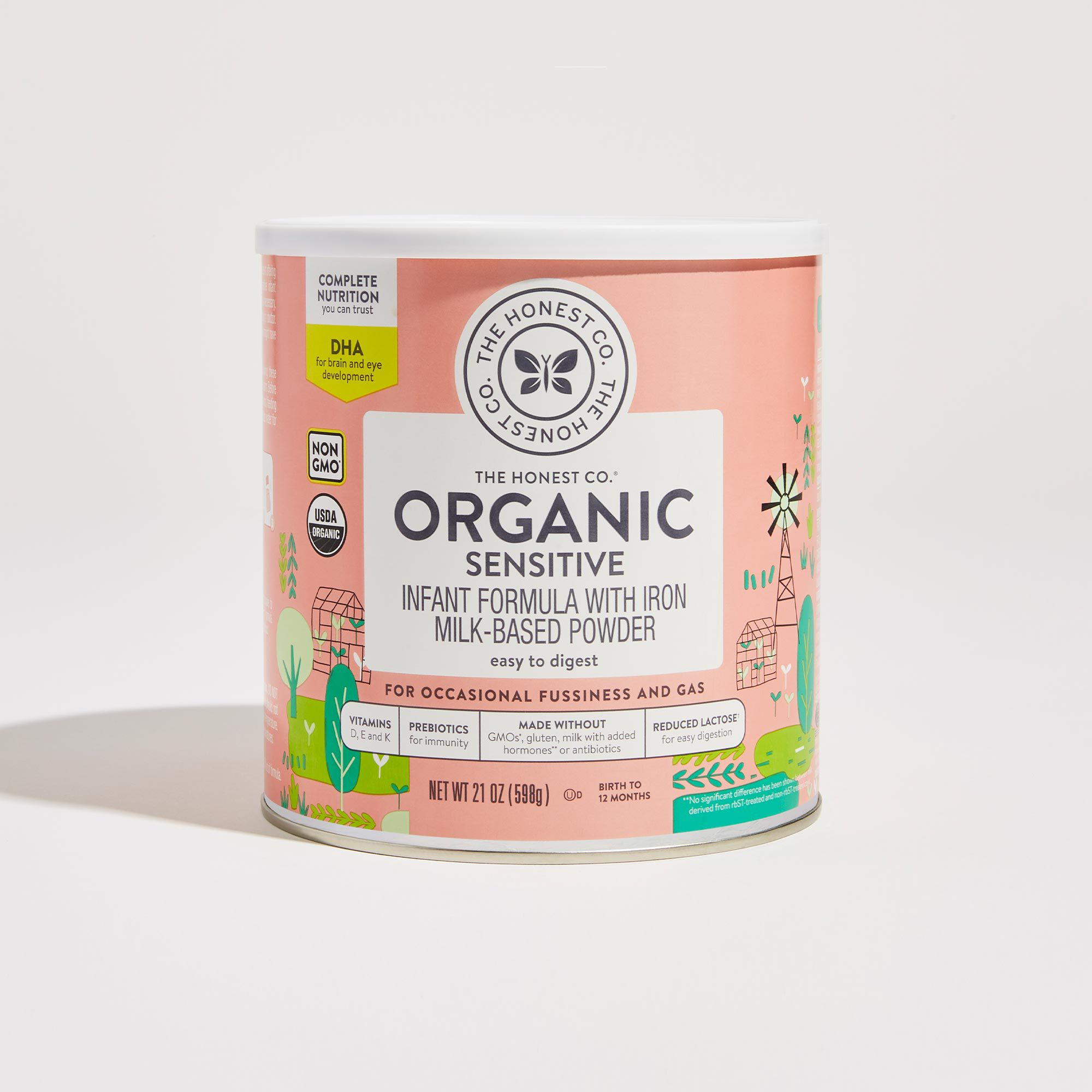 21 ounce Organic Sensitive Infant Formula Front of Container