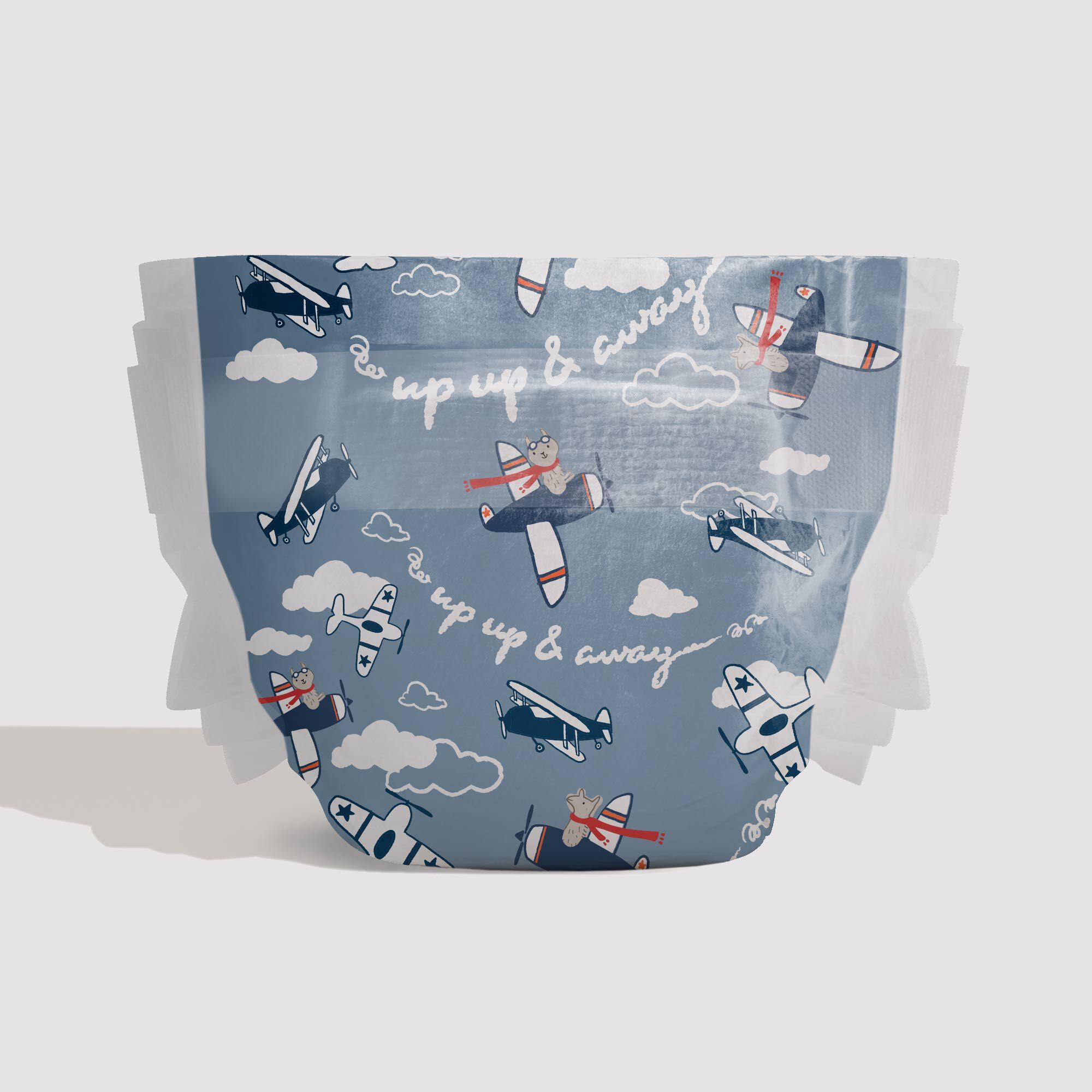 blue llama printed diaper