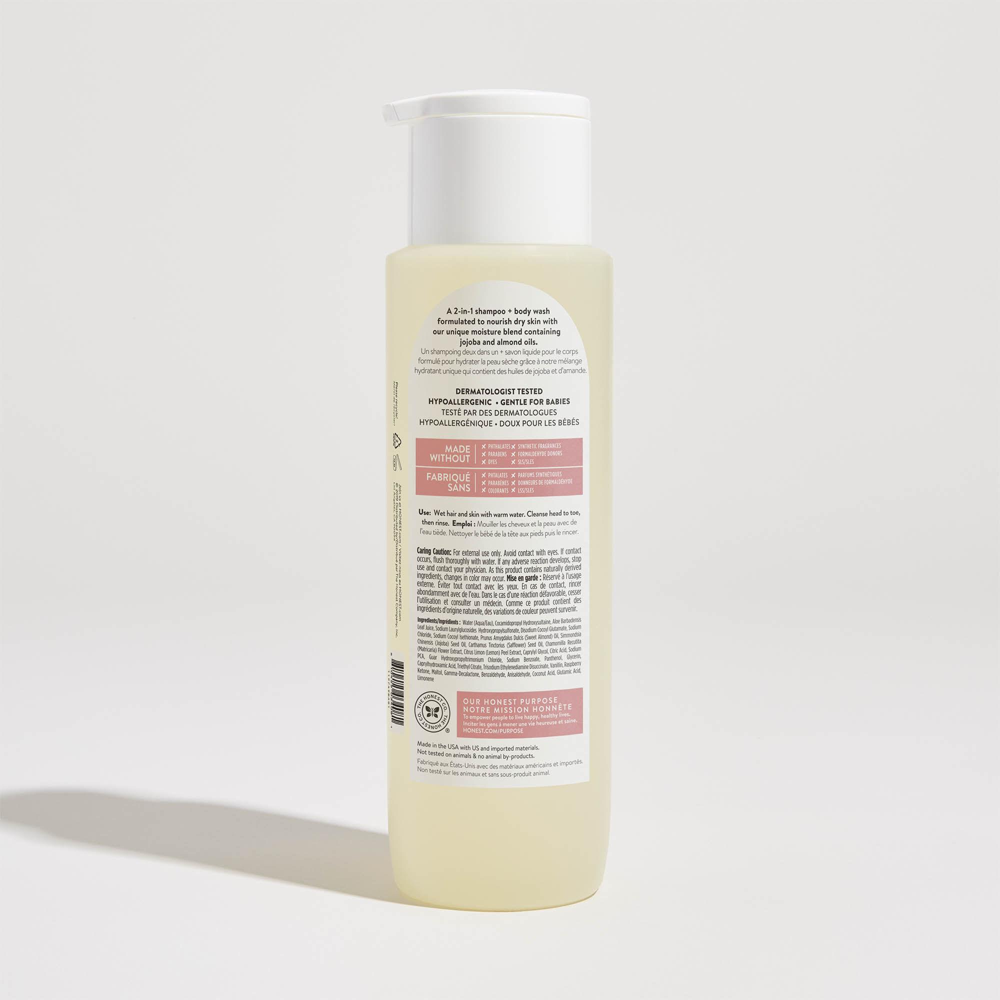 gently nourishing scented shampoo back of bottle
