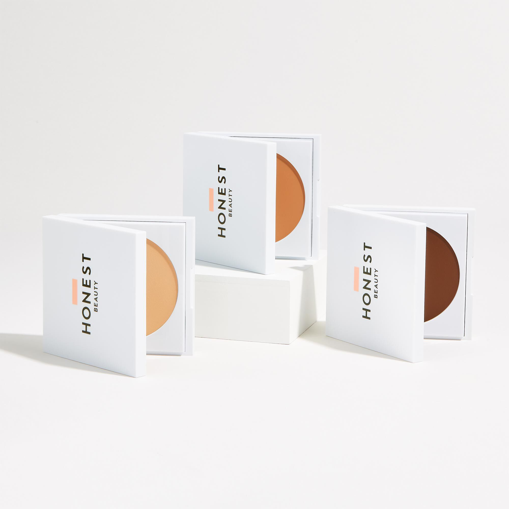 Three creme foundation shades, front of packages
