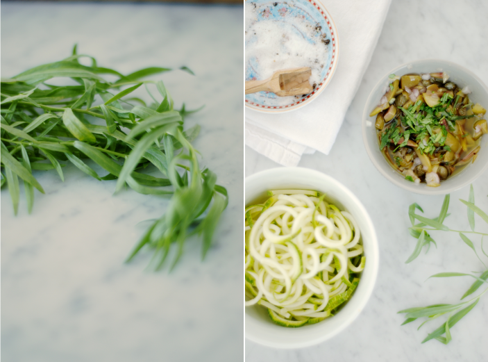 Ingredients for Zucchini Pasta with Olives & Capers