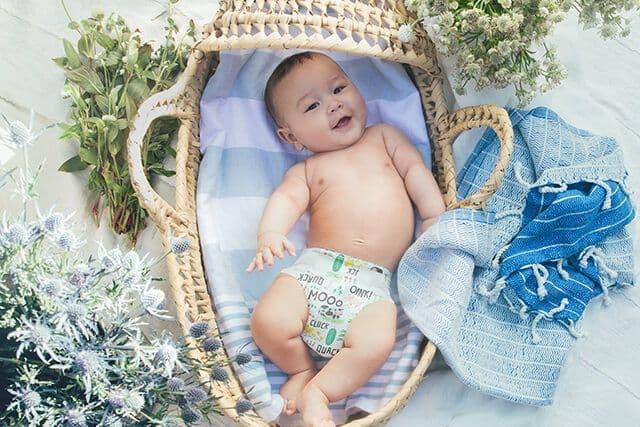 Baby boy laying in basket