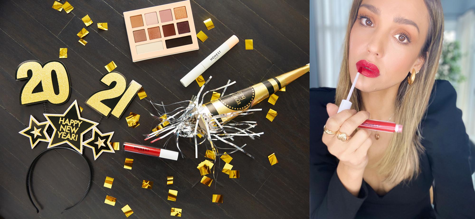 New Years 2021 items and Jessica Alba applying Honest Lipstick