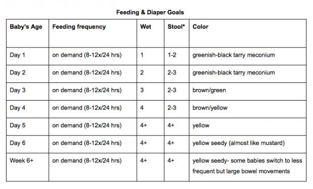 Breastfeeding P+P Chart