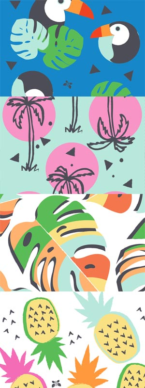 Beak-A-Boo, Babe-Cation, Fruity Patootie, and Lil Monstera diaper prints