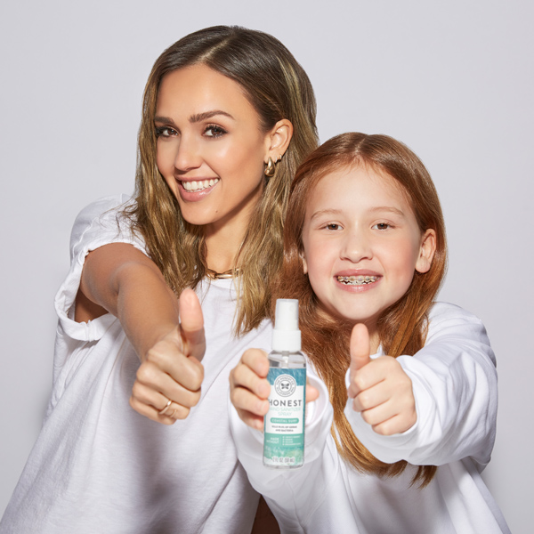 Jessica Alba and Haven holding Hand Sanitizer