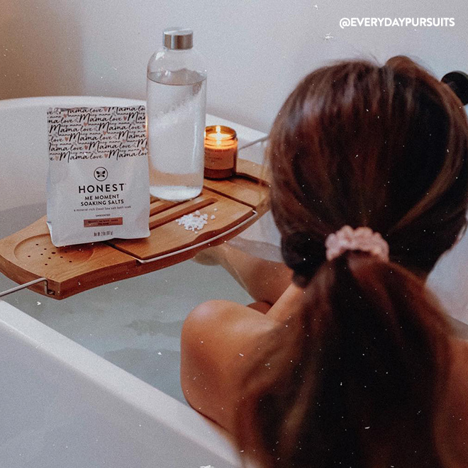 Woman in Bathtub with Honest Me Moments Soaking Salts Image
