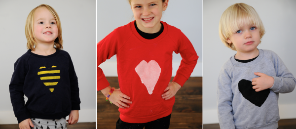 DIY Heart Sweatshirts for Kids